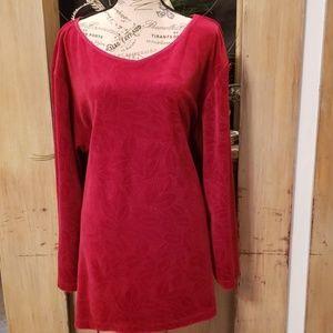 Liz Claiborne long sleeve red velour pullover.